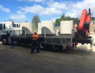 Water utility truck fitted with AccuOnboard TruckWeigh solution