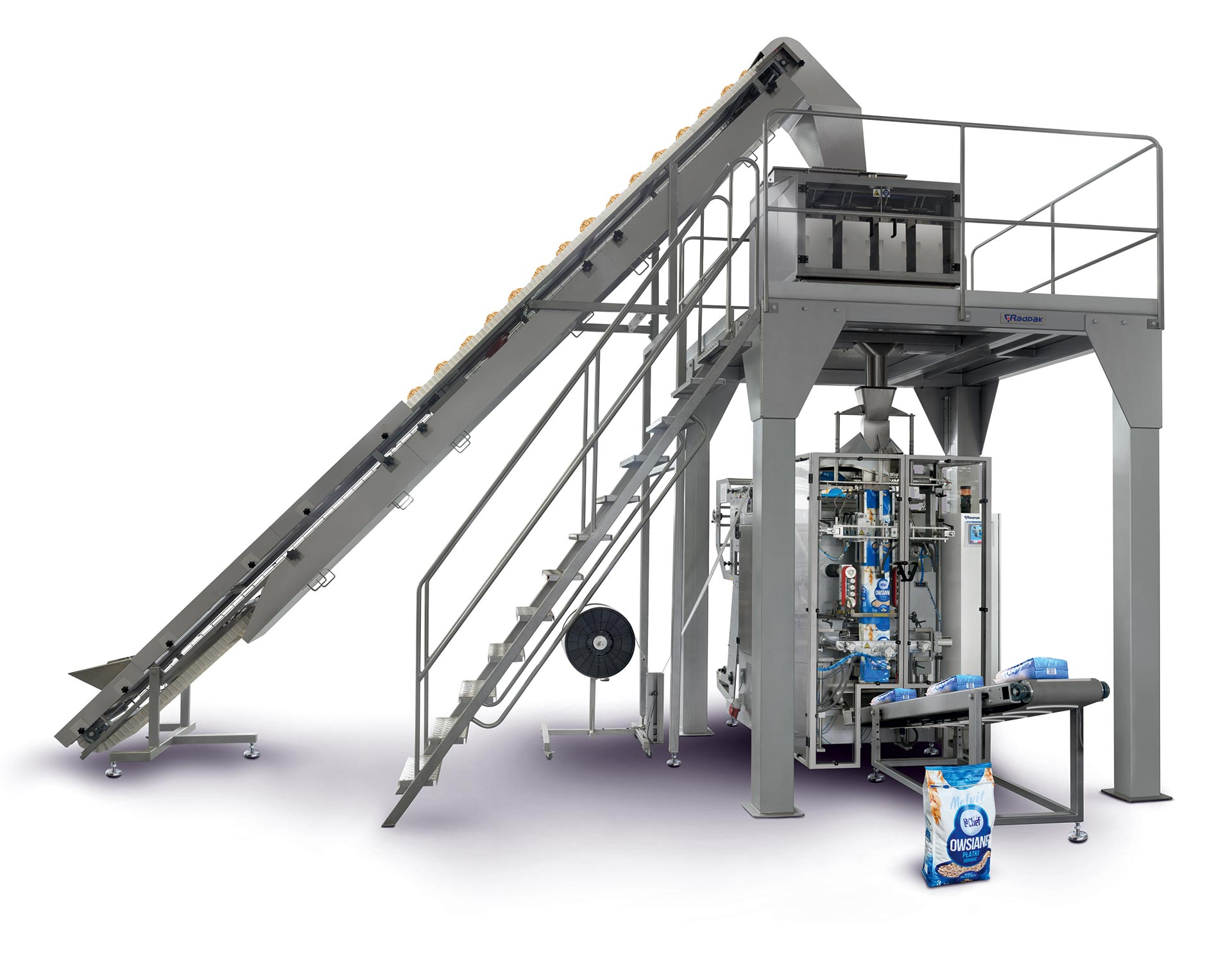 vertical form fill seal machine on a whit ebackground