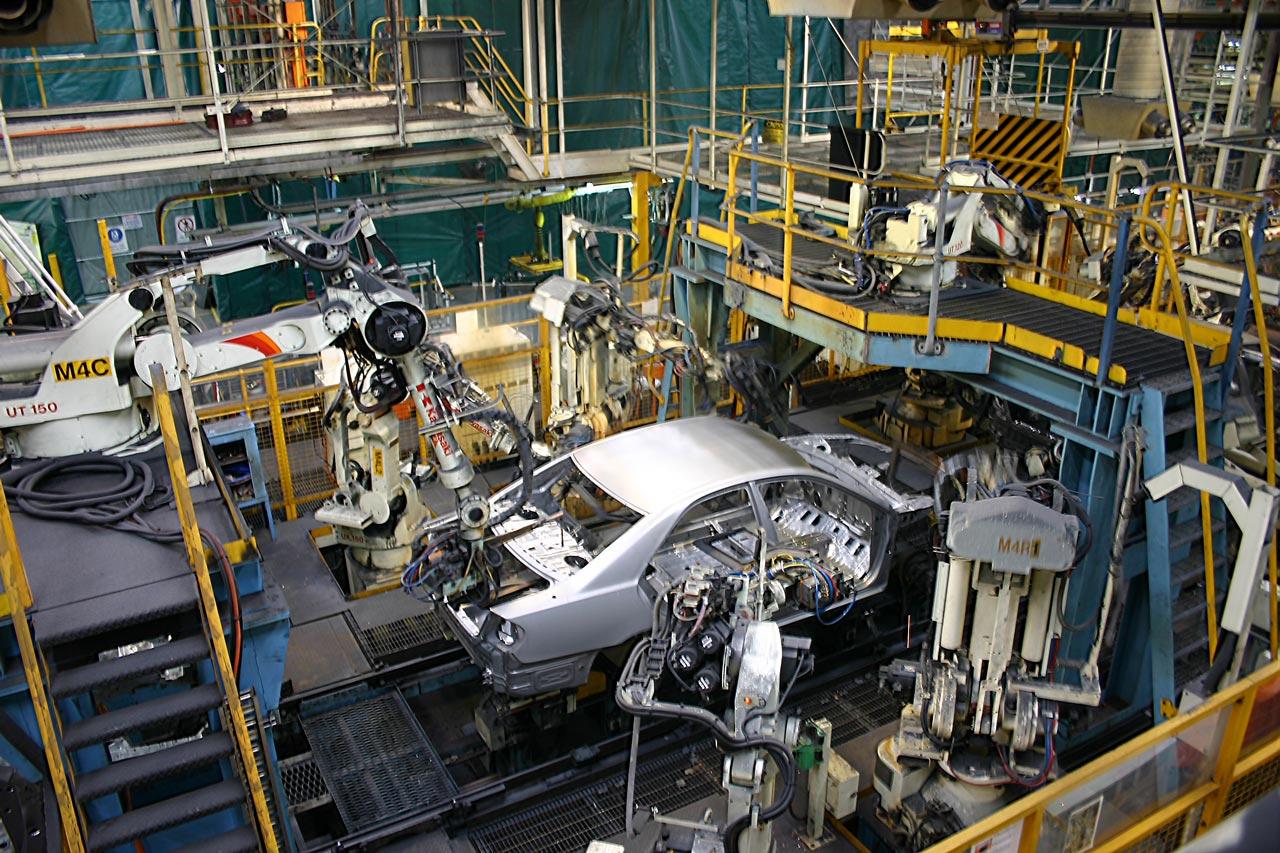 RTA Kawasaki robots on an automotive production line