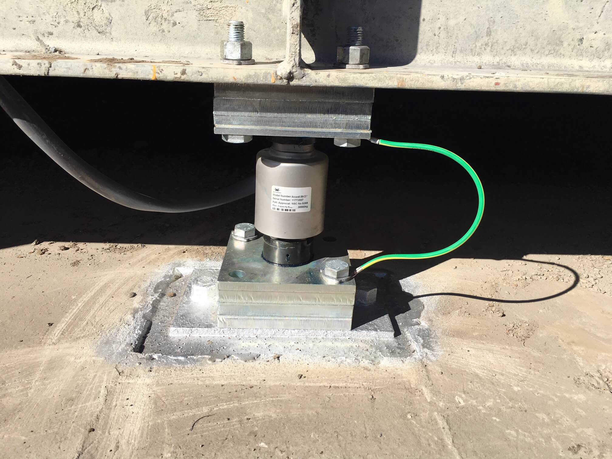 Canister Load Cell installed in a weighbridge at Rocky Point Sugar Mill