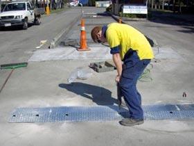Weighbridge speed hump installation