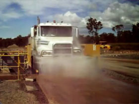Truck in a wheel wash system